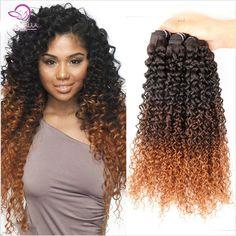 Best Way 6A,3Pieces Brazilian Virgin Hair Kinky Curly Ombre Human Hair Weaves 3 Tone 1B/4/27/30 Brazilian Curly Virgin Hair
