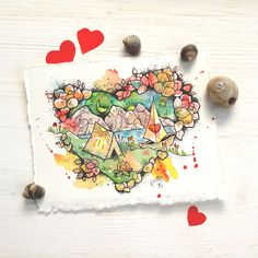 Love Camping,Tiny Painting,Original Watercolor,Valentine Gifts,Small Works,Nature Illustration,Small Gifts,Landscape,Hearts by LovelyLonelyThings on Etsy https://www.etsy.com/listing/495854346/love-campingtiny-paintingoriginal