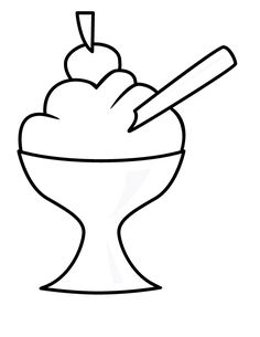 Ice Cream Coloring Pages with cherry on top