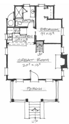 Allison Ramsey Architects | Floorplan for The High Hickory Cabin - 710 sqaure foot house plan # NC0021