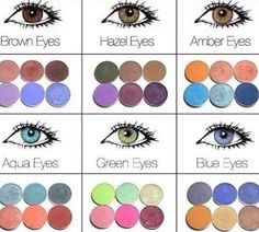 Eye Makeup : Make-up; eye shadow colours for brown eyes, hazel eyes, amber eyes, aqua eyes, g… All Things Beauty, Beauty Make Up, Hair Beauty, Beauty Tips For Teens, Beauty Ideas, Amber Eyes, Aqua Eyes, Gray Eyes, Brown Eyes Pop
