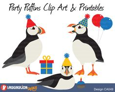 Puffin Party Clip Art & Printables Set CA049 / Puffin Clipart / Puffins Wall Decorations / Penguin Birthday Printables / Puffin Graphics - pinned by pin4etsy.com