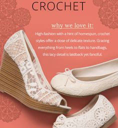 The Payless Shoes newsletter announced that #crochet shoes are on trend
