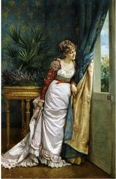 Awaiting the Visitor  Auguste Toulmouche 1878 - Marianne at the window looking for Willoughby
