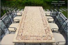 "78"" Outdoor Patio Dining Table Italian Mosaic Stone Marble - TUSCANY"