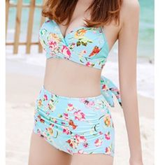 COMING SOON High waisted bikini set L Gorgeous pinup style swim suit! Figure flattering, especially if you have a mommy tummy like myself ;) briefs come up past the belly button, top is much like a halter. Please refer to size chart posted! Swim Bikinis