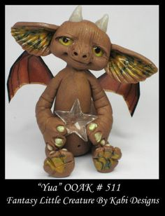 Fantasy Little Dragon DollHouse Art Doll Polymer Clay CDHM OOAK IADR Yua Mini