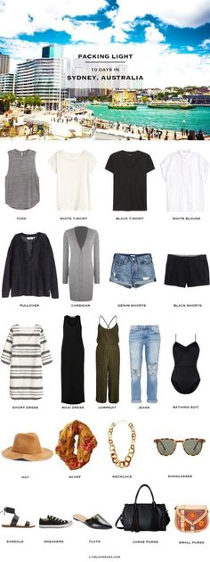 What to Pack for Sydney Australia – Travel Light – livelovesara Sydney Australia Packing Light List Capsule Wardrobe, Travel Wardrobe, Travel Outfit Summer, Summer Outfits, Summer Travel, Black Shorts, Sydney Australia Travel, Australia 2018, Viajes