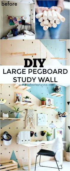 This amazing DIY giant plywood pegboard wall is so easy to make and it looks super cool! You are in the right place about giant pegboard ide Large Pegboard, Pegboard Craft Room, Pegboard Organization, Kitchen Pegboard, Craft Rooms, Pegboard Display, Office Organization, Diy Peg Board, Peg Boards
