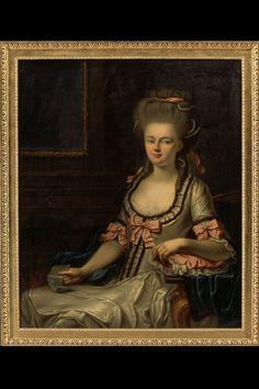 GEMÄLDE LM-107577 Gemälde. Damenporträt Elisabeth von Freudenreich, geb. Tscharner (1742 - 1830). Kniebild. Maler unbekannt. Öl auf Leinwand. Datiert 1760. Masse Bild: Höhe 111.5 cm, Breite 93 cm. (LM-107577)