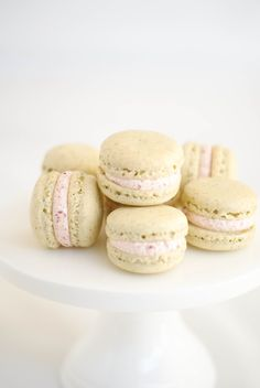 pistachio macarons with raspberry and vanilla buttercream
