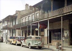 Street in Mobile, Alabama 1937. Colorized by Steve Smith from a black-and-white photo. Arlington Park, Colorized History, Mobile Alabama, Steve Smith, Coney Island, White Image, World War I, Historical Photos, Vintage Images