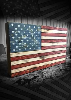 Wooden American Flag Description: Handcrafted in Savannah, Georgia, our wooden signs were built with callused hands from our continuing desire to provide the hardest working Americans with the best pa