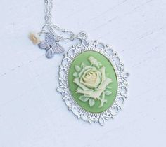 Mint Green ROSE Cameo Pendant Victorian Romance by redtruckdesigns