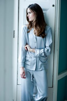Women's Long Pyjama Set Jacket and Trousers by SilkandGrey