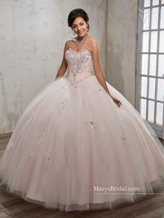 a4029adbc55 Look gorgeous in this beaded strapless A-line Quinceanera ball gown by Mary s  Bridal Beloving