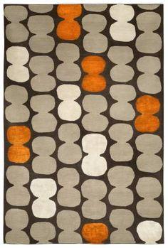 Judy Ross Hand-Knotted Custom Wool Tabla Rug dark fig/oyster/melon silk/parchment silk