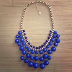 NEW Francesca's Bauble Statement Necklace Statement necklace from Francesca's Collections. Super pretty gold and blue combination! BRAND NEW, unworn Francesca's Collections Jewelry Necklaces