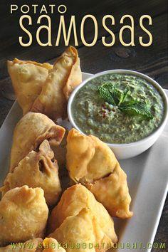 Potato Samosas with Yogurt Mint Chutney Indian Snacks, Indian Food Recipes, Asian Recipes, Vegetarian Recipes, Cooking Recipes, Ethnic Recipes, Indian Appetizers, Rice Recipes, Indian Foods