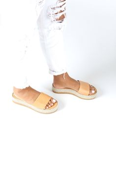 Slide Platform Shoes Leather Slip on Sandals Summer Wedges Gold Sandals, Wedge Sandals, Leather Sandals, Summer Wedges, Beautiful Sandals, Ancient Greek Sandals, Platform Shoes, Leather Slip Ons, Platforms