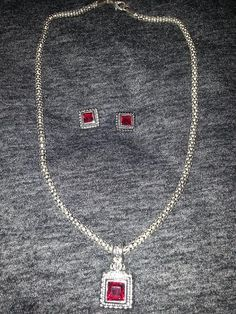 Vintage Ruby Necklace Earring Jewelry Set Silver Faux Jewel Fashion Jewelry