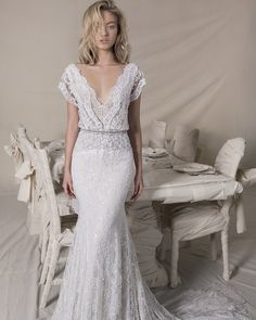 Wedding Dress Designers You Want To Know About ★ wedding dress designers sheath long overlay full lace sequin skirt lihi hod Perfect Wedding Dress, Dream Wedding, Wedding White, Relaxed Wedding Dress, Rustic Wedding, Simple Lace Wedding Dress, Boho Chic Wedding Dress, Elegant Wedding, Hippie Chic Weddings