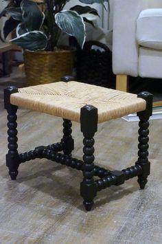 Vintage rush stool spool style hand turned wood by dawntoussaint & Vintage natural rush stool small footstool kitchen stool   flea ... islam-shia.org