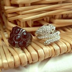 Snake and Black EnamelBling Rings About a size 6/7, the snake may be closer to an 8.  Crystal rhinestone snake coiled ring with black rhinestone eyes, missing a couple small stones but nothing major. Black chunky stone and gunmetal ring. Jewelry Rings
