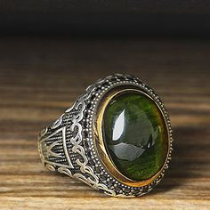 925 K Sterling Silver Man Ring Green Amber 11,25 US Size $35.90