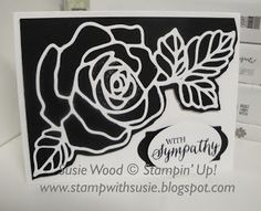 Stampin' Up!- I LOVE black & white cards!  Check out this one I made using the new 'Rose Garden' set & coordinating Garden Rose thinlits!
