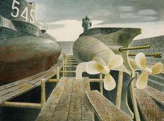 Eric Ravilious - 'Submarines in Dry Dock', 1940