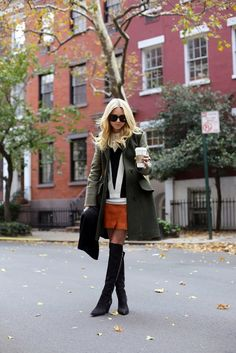 Cute way to wear a skirt during the fall