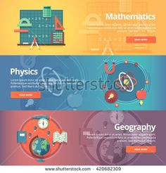 Elementary mathematics. Basic math. Physics subject. Geography science. School subjects. Education and science banners set. Vector design concept. - stock vector