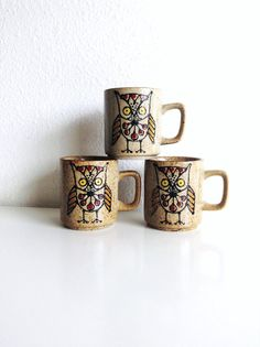 3 Vintage Ceramic Coffee Mugs, Owl and Flower Design