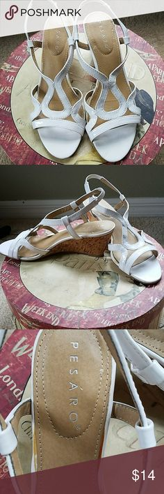 Cute white cork wedge sandle 2 1/2 inch light cork heel. Comfy and adorable. Gently worn. Shoes