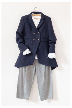 The classic jacket of the season is here. Cut in a deep navy wool and linen fabric, the Flossie Frock Jacket features a beautiful tail which is a nod to classic menswear tailoring. Dedicated Follower Of Fashion, Perfect Wardrobe, Mori Girl, Linen Fabric, Frocks, Everyday Fashion, Double Breasted, Cabbages, Menswear