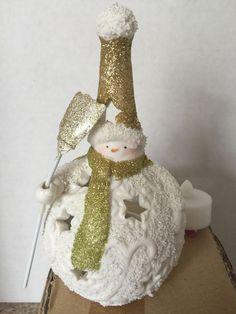 "Retired Yankee Candle 6"" Holiday Winter Snowman Lantern Tea Light Holder Glitter #YANKEECANDLE #retiredyankeecandle #snowmanlantern #snowman #yankeetealightholder #holiday"