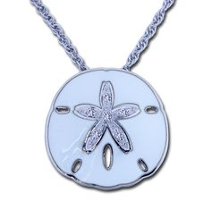 25a173d88cd Check out the deal on Guy Harvey Sand Dollar Necklace with White Topaz and  Enamel -
