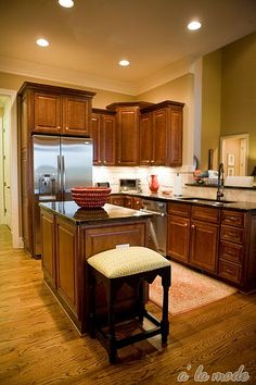 more realistic backsplash and countertop ideas for my kitchen, since we are working with wood cabinets too