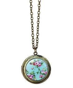 Amazing vintage gold locket ring facebook locket necklace love this painted floral locket pendant necklace on zulily zulilyfinds aloadofball Images