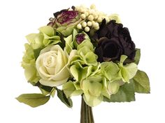 Gorgeous silk bridal bouquets available now at Afloral.com, like this rose, ranunculus, and hydrangea bouquet in plum green. Save time and money with Afloral.com.
