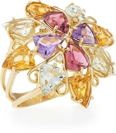 VIANNA B.R.A.S.I.L Mixed Color & Diamond Cocktail Ring, Size 7