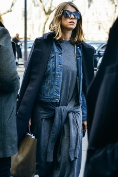 """I really like this look, except I think those tied """"sleeves"""" are not from another sweatshirt and are part of the dress. Weird."""