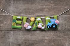 Felt name banner, Farm nursery decor, personalized gift, felt letters, baby gift, child room decor, baby name garland, custom made banner