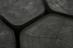 BASALT tables basses en bois brûlé par Normal Studio