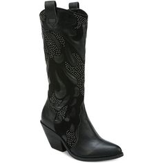 Carlos by Carlos Santana Axel Studded Western Boots ($84) ❤ liked on Polyvore featuring shoes, boots, black, black boots, cowboy boots, cowgirl boots, carlos by carlos santana boots and black cowgirl boots