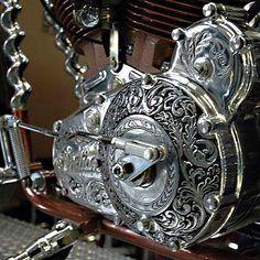 Trevelens Crazy Horse -Primary engraving by Tarrera, cool auger bits used in frame down tubes. Biker build-off winner. Motorcycle Engine, Motorcycle Art, Bike Art, Custom Harleys, Custom Bikes, Crazy Horse, Grabar Metal, Moto Fest, Motos Harley Davidson