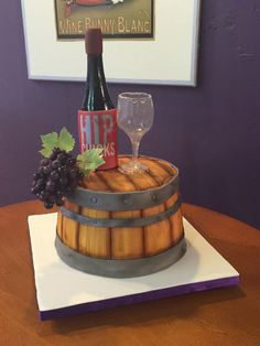 Half Wine Barrel Anniversary cake with isomalt bottle and glass