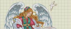 Hobby lavori femminili: Schema punto croce - Angelo con Angioletti
