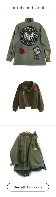 """Jackets and Coats"" by kamileo ❤ liked on Polyvore featuring outerwear, jackets, tops, green jacket, red, olive jacket, embroidered jackets, olive green jacket, short jacket and green military jacket"